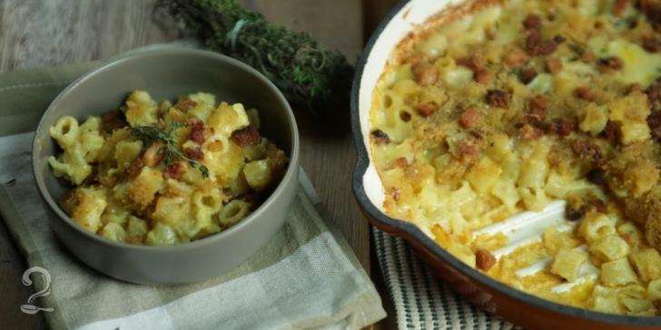 Receita de Mac & Cheese com cerveja e bacon em vídeo | Gourmet a Dois