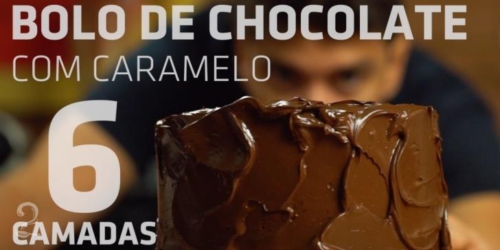 Receita de Bolo de CHOCOLATE com CARAMELO de 6 camadas em vídeo | Gourmet a Dois
