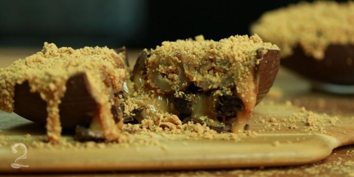 Receita de OVO DE PÁSCOA RECHEADO: Brownie, Churros, Doce de Leite e Paçoca em vídeo | Gourmet a Dois